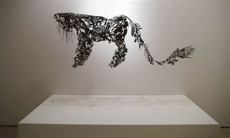 handmade cloud leopard paper cut sculpture