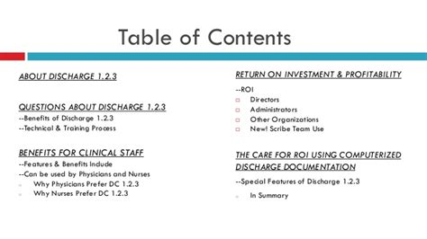 Discharge 1 2 3 Sle Ppt Table Of Content In Powerpoint