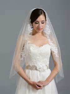 Flower Wedding Headpieces - ivory elbow wedding veil v051 alencon lace