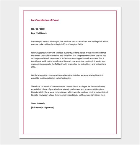 event cancellation notice letter apology letter for cancellation sles exles formats