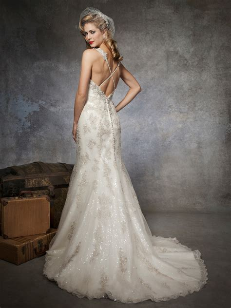 fully beaded lace sequin trumpet wedding dress by justin