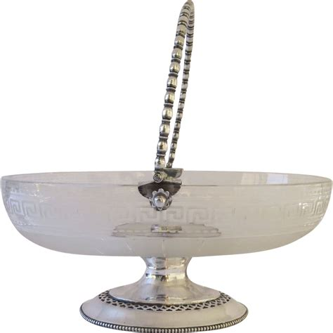 bowl swing etched glass and silver plate footed swing handle bowl