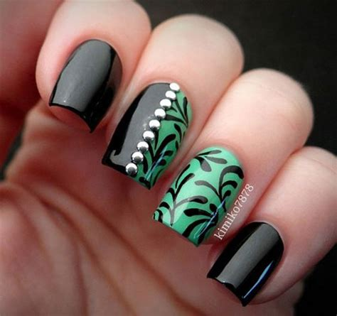 easy nail art with green and black 10 black green gel nail art designs ideas 2016
