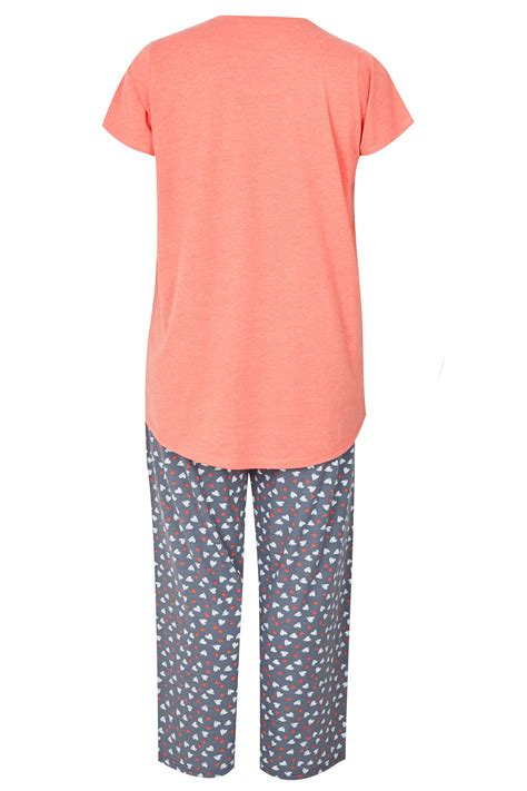 Pot Tawon No 27 plus size coral pyjama set sizes 16 to 36