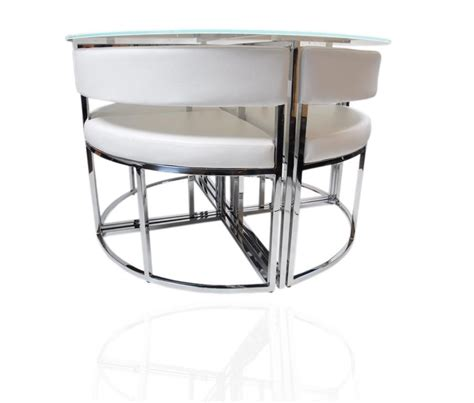 Dining Tables And Chairs Glass White Stowaway Glass Dining Table And Chairs Set Hideaway Chrome Rrp 163 799 1st Condo