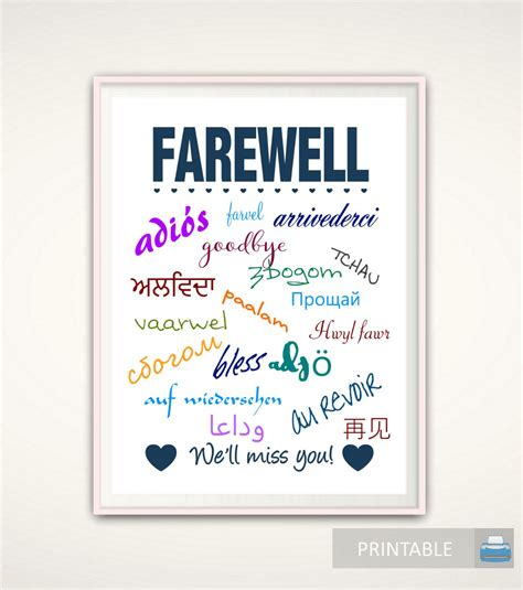 employee leaving card template goodbye gift going away gift goodbye print farewell print