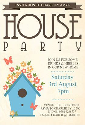 quot house party quot printable invitation customize add text