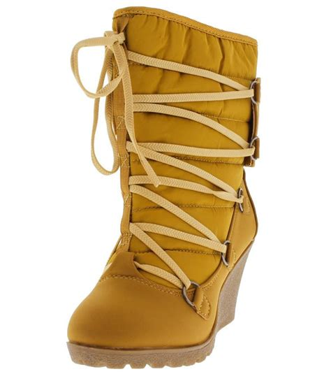 Boots Wedges 88 18166 wheat quilted lace up wedge snow boots from 12 88
