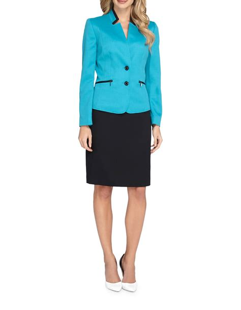 Jacket Pencil Skirt Set tahari starneck jacket and pencil skirt set lyst
