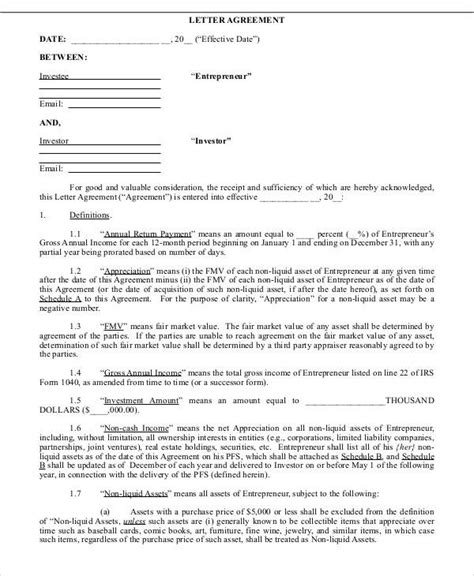 Money Agreement Letter Sle Investor Financing Agreement Template 28 Images Sle Business Loan Agreement 6 Free Documents