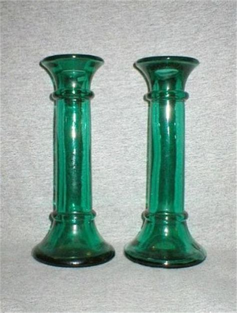Glass Candle Stick Holders Indiana Green Glass Candle Holder Candlestick Vases