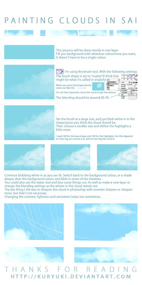 watercolor tutorial sai cloud painting tutorial in sai by kuryuki on deviantart