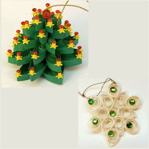 2 vintage quilled paper christmas ornaments tree and snowflake