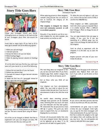 classic newspaper template classic inside or back page try this 11 quot x14 quot newspaper