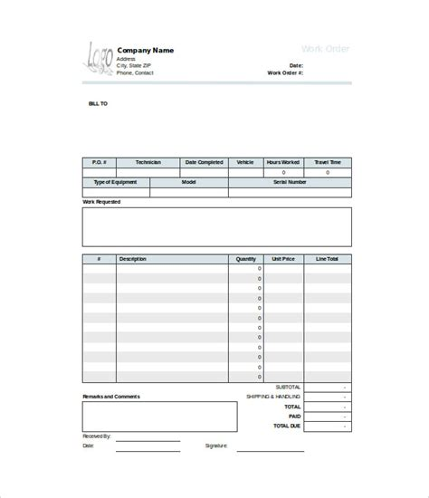 work order form template printable work order request form template