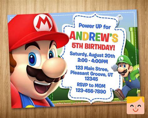 Super Mario Invitation Super Mario Birthday By Mrhappyinvites Mario Bros Birthday Invitation Templates