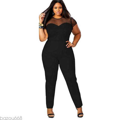 plus size sheer detail top jumpsuit addicted2fashion