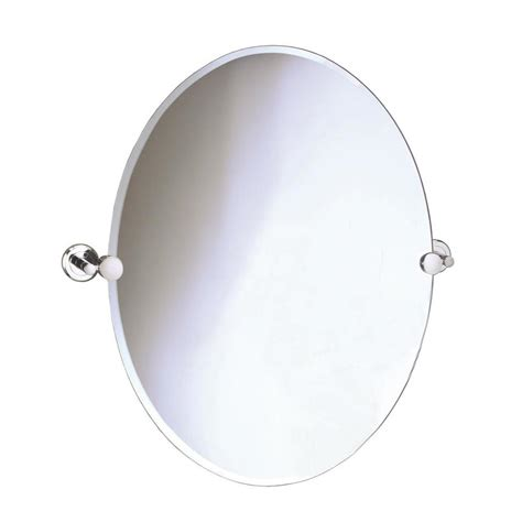 oval frameless bathroom mirror shop gatco laurel avenue 19 5 in x 26 5 in polished nickel