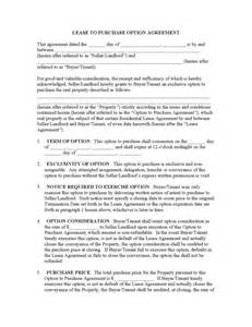 Rent To Buy Contract Template by Rent To Own Contract Legalforms Org