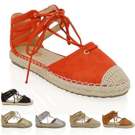 womens lace up flat espadrilles sandals ankle straps casual shoes size ebay