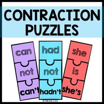 contraction puzzles  nicole  teachers pay teachers