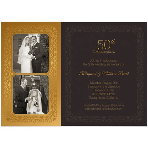 50th Wedding Anniversary Invitations by Two Photos 50th Wedding Anniversary Invitation