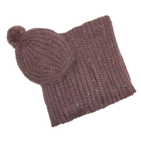 womens hat and loop scarf nubby winter set by ctm