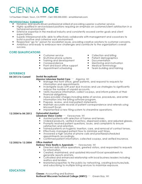 Dental Receptionist Resume by Professional Dental Receptionist Templates To Showcase