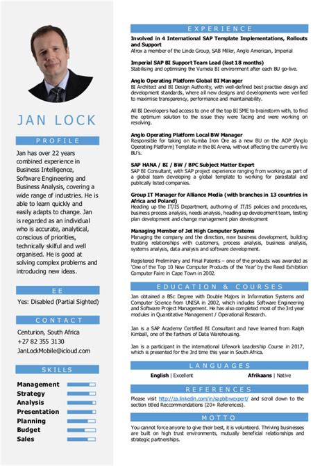 Business Intelligence Sample Resume by Cv Senior Bi Amp Data Manager Jan Lock 2017 V1 1