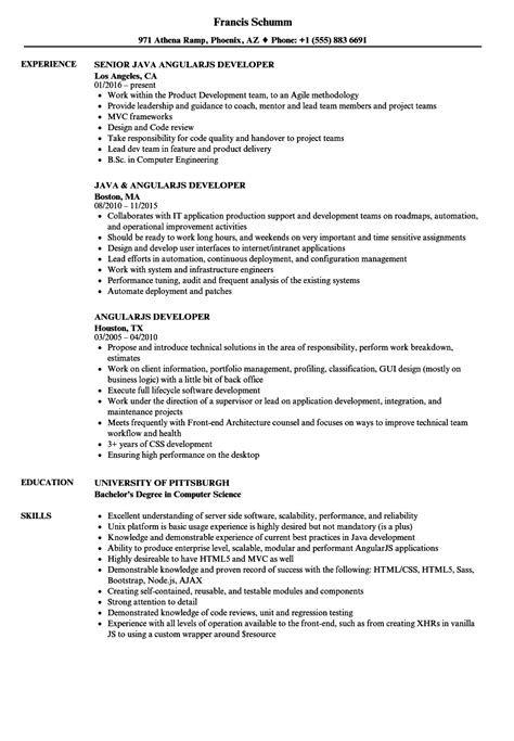 angularjs developer resume sles velvet