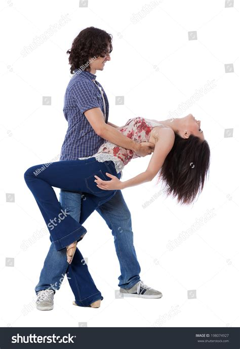 demonstration of west coast swing dance steps social dance west coast swing demonstration stock photo