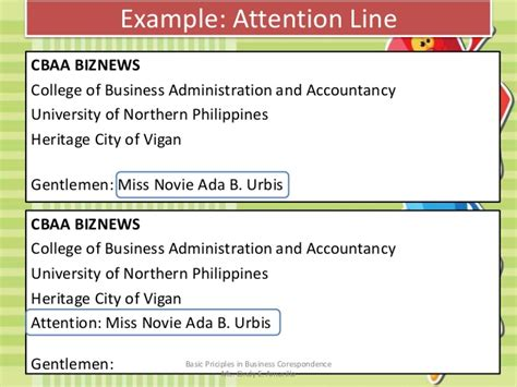 Attention Line Business Letter Definition basic principles in business correspondence