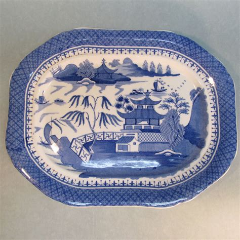english willow pattern english quot canton willow quot pattern platter circa 1845 from