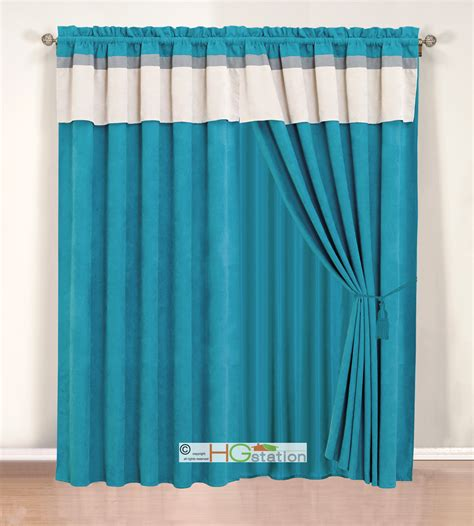 Grey Faux Suede Curtains 4 Pc Stripe Solid Micro Faux Suede Curtain Set Blue Grey Silver Valance Drape 617237893659 Ebay