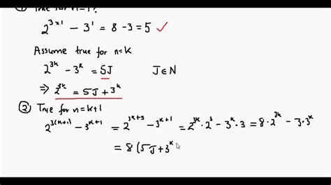 define proof by induction using mathematical induction to prove 2 3n 3 n is divisible by 5