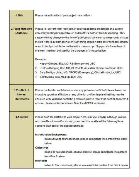 research proposal layout exle research proposal templates 16 free word excel pdf