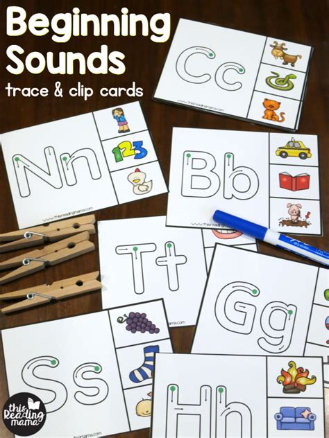 beginning card beginning sounds clip cards trace clip this reading