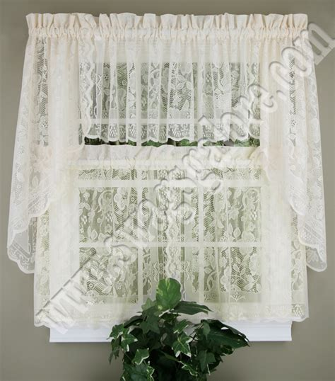 swag lace curtains windsor lace curtains natural united jabot swag