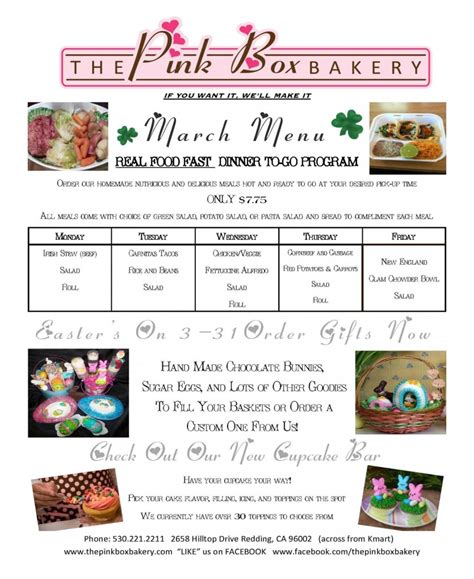 That Kitchen Place Redding Ca - march newsletter the pink box bakery in redding california