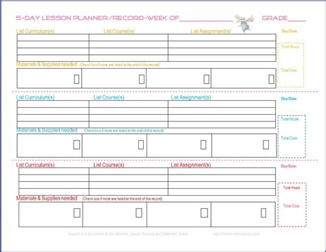 free printable homeschool lesson planners 6 best images of printable homeschool lesson plan template