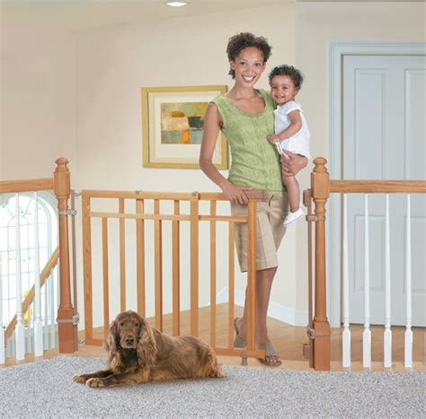 Summer Infant Dual Banister Gate by Summer Infant Stylish Secure Deluxe Top Of Stairs Gate W Dual Banister Kit Feisty Frugal