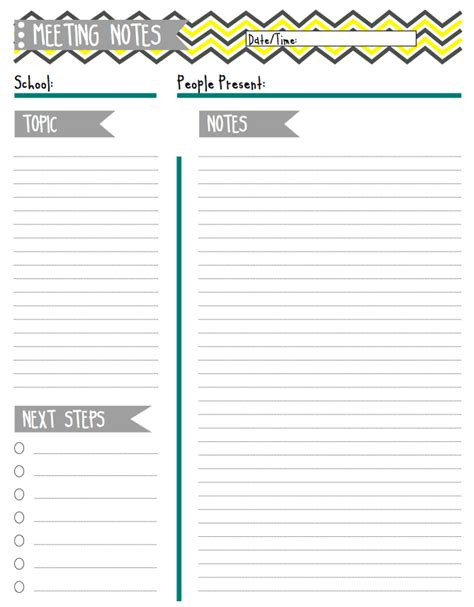 template for taking meeting minutes 7 best images of meeting notes printable printable