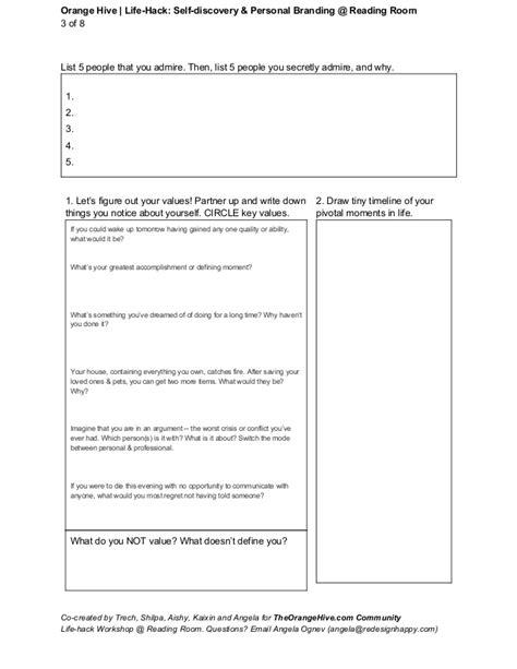 Personal Branding Worksheet by Self Discovery Personal Branding Hack Worksheet