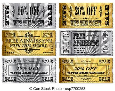 vectors of gold and silver tickets. money off and free