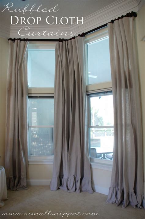 drop cloth curtain ruffled drop cloth curtains a small snippet