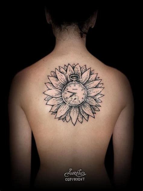 tattoo flower clock back tattoos and designs page 572