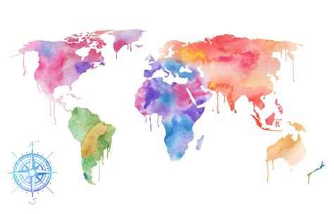 The World In Watercolor by Watercolor World Map Print Magenta Pink Purple Painting