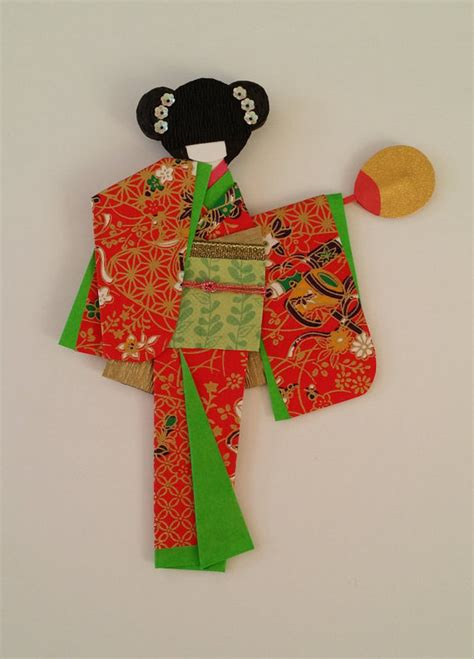 Origami Kimono Doll - origami washi ningyo traditional japanese kimono paper