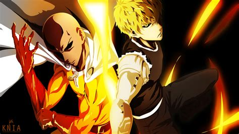 anime one punch man saitama saitama genos one punch man wallpaper by kuronekoisawesum