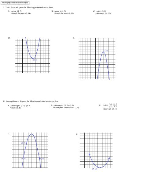 identifying parts of a parabola worksheet answers quadratic transformations worksheet worksheets